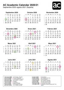 Calendario Académico AC 2020-21